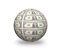 Τρισδιάστατη σφαίρα δολαρίων Στοκ φωτογραφία με δικαίωμα ελεύθερης χρήσης
