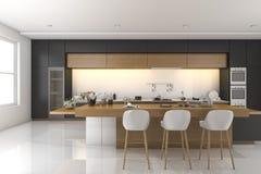 τρισδιάστατη σύγχρονη μαύρη κουζίνα απόδοσης με το ξύλινο ντεκόρ Στοκ εικόνες με δικαίωμα ελεύθερης χρήσης