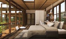 τρισδιάστατη σύγχρονη ξύλινη κρεβατοκάμαρα απόδοσης με το μπαλκόνι Στοκ φωτογραφία με δικαίωμα ελεύθερης χρήσης