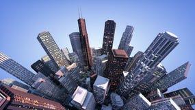 τρισδιάστατη σύγχρονη πόλη στοκ εικόνες