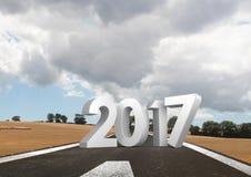 τρισδιάστατη σύνθετη εικόνα του 2017 και εγκαταλειμμένος δρόμος απεικόνιση αποθεμάτων