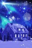 τρισδιάστατη σύνθετη εικόνα του φωτισμένου τυρκουάζ σπιτιού που καλύπτεται στο χιόνι διανυσματική απεικόνιση