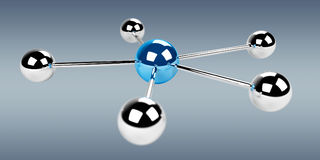 τρισδιάστατη τρισδιάστατη απόδοση δικτύων σφαιρών μπλε Στοκ Εικόνα