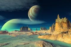 τρισδιάστατη φαντασία αλλοδαπός πλανήτης Βράχοι και φεγγάρι Στοκ Φωτογραφίες