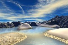 τρισδιάστατη φαντασία αλλοδαπός πλανήτης Βράχοι και φεγγάρι Στοκ φωτογραφία με δικαίωμα ελεύθερης χρήσης