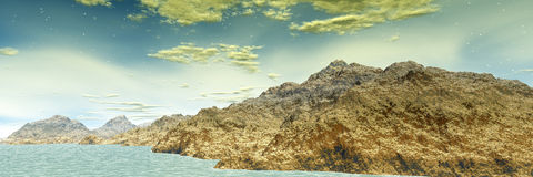 τρισδιάστατη φαντασία αλλοδαπός πλανήτης πανόραμα Στοκ εικόνα με δικαίωμα ελεύθερης χρήσης