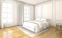 τρισδιάστατη φωτεινή και όμορφη κρεβατοκάμαρα απόδοσης το απόγευμα Στοκ φωτογραφία με δικαίωμα ελεύθερης χρήσης
