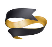 τρισδιάστατη χρυσή μαύρη κορδέλλα που απομονώνεται στο άσπρο υπόβαθρο Στοκ φωτογραφίες με δικαίωμα ελεύθερης χρήσης
