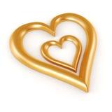 τρισδιάστατη χρυσή μορφή καρδιών Στοκ εικόνα με δικαίωμα ελεύθερης χρήσης