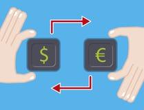 τρισδιάστατη όμορφη απεικόνιση τρία αριθμού ανταλλαγής νομίσματος διαστατική ευρο- πολύ επίπεδη απεικόνιση με το ευρο- σύμβολο δο Ελεύθερη απεικόνιση δικαιώματος