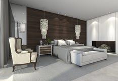 τρισδιάστατη όμορφη κρεβατοκάμαρα απόδοσης με τη διακόσμηση Στοκ Εικόνες