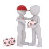 Τρισδιάστατοι άνθρωποι λεωφορείων και φορέων ποδοσφαίρου ελεύθερη απεικόνιση δικαιώματος