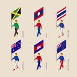 τρισδιάστατοι άνθρωποι με τις σημαίες Καμπότζη, Αυστραλία, Ζηλανδία, Λάος, Thailan διανυσματική απεικόνιση