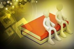 τρισδιάστατοι άνθρωποι που κάθονται στα βιβλία Στοκ φωτογραφία με δικαίωμα ελεύθερης χρήσης