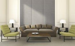 τρισδιάστατοι δίνοντας συμπαθητικοί κάθισμα και καναπές στο φωτεινό καθιστικό Στοκ εικόνα με δικαίωμα ελεύθερης χρήσης