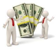 τρισδιάστατοι επιτυχείς επιχειρηματίες που παρουσιάζουν τα πακέτα των χρημάτων Στοκ Φωτογραφία
