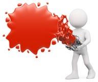 τρισδιάστατοι λευκοί άνθρωποι. Κόκκινος παφλασμός χρωμάτων Στοκ εικόνες με δικαίωμα ελεύθερης χρήσης