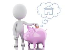 τρισδιάστατοι λευκοί άνθρωποι με την τράπεζα Piggy, σκέψη την αγορά ενός καινούργιου σπιτιού Στοκ Εικόνες