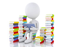 τρισδιάστατοι λευκοί άνθρωποι που διαβάζουν ένα βιβλίο στο άσπρο υπόβαθρο διανυσματική απεικόνιση