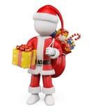 τρισδιάστατοι λευκοί άνθρωποι Χριστουγέννων. Άγιος Βασίλης με ένα δώρο διανυσματική απεικόνιση