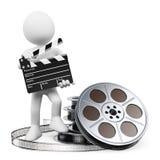 τρισδιάστατοι λευκοί άνθρωποι. Clapper πίνακας και εξέλικτρο ταινιών Στοκ φωτογραφίες με δικαίωμα ελεύθερης χρήσης
