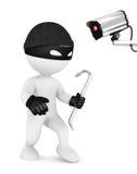 τρισδιάστατοι λευκοί κλέφτης και κάμερα ασφαλείας ανθρώπων Στοκ Εικόνες