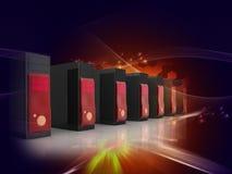 τρισδιάστατοι κεντρικοί υπολογιστές υπολογιστών σε ένα κέντρο δεδομένων διανυσματική απεικόνιση