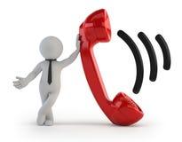 τρισδιάστατοι μικροί άνθρωποι - ακουστικό τηλεφώνου Στοκ Φωτογραφίες