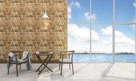 τρισδιάστατοι πίνακας και καρέκλα τσαγιού απόδοσης όμορφοι σύγχρονοι κοντά στη θάλασσα Στοκ φωτογραφίες με δικαίωμα ελεύθερης χρήσης