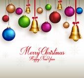 τρισδιάστατοι ρεαλιστικοί χαιρετισμοί Χαρούμενα Χριστούγεννας διανυσματική απεικόνιση