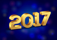τρισδιάστατοι χρυσοί διανυσματικοί αριθμοί καλής χρονιάς 2017 Στοκ Φωτογραφίες