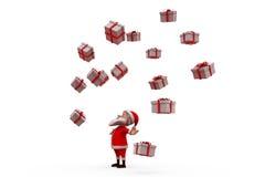 τρισδιάστατος Άγιος Βασίλης έννοια πολλών δώρων Στοκ Εικόνα