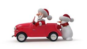 τρισδιάστατος Άγιος Βασίλης με το αυτοκίνητο απόθεμα βίντεο