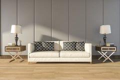 τρισδιάστατος άνετος άσπρος καναπές απόδοσης στο θερμό δωμάτιο Στοκ Εικόνα
