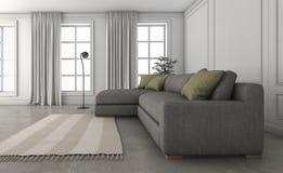 τρισδιάστατος άνετος καναπές απόδοσης στο συμπαθητικό καθιστικό σοφιτών Στοκ εικόνα με δικαίωμα ελεύθερης χρήσης