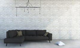 τρισδιάστατος άσπρος τουβλότοιχος απόδοσης με τον ελάχιστο καφετή καναπέ Στοκ Εικόνες