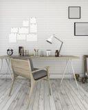 τρισδιάστατος άσπρος τουβλότοιχος απόδοσης με το λειτουργώντας δωμάτιο ύφους σοφιτών Στοκ φωτογραφίες με δικαίωμα ελεύθερης χρήσης
