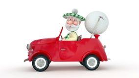τρισδιάστατος λίγο golfist ατόμων με το αυτοκίνητο. απεικόνιση αποθεμάτων
