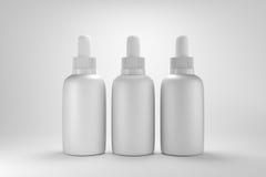 τρισδιάστατος δίνοντας 3 άσπρα μεταλλικά dropper μπουκάλια που συσκευάζουν με το άσπρο υπόβαθρο Στοκ Φωτογραφία