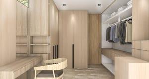 τρισδιάστατος δίνοντας ξύλινος περίπατος στο ντουλάπι με το φως της ημέρας από το εξωτερικό Στοκ Εικόνες