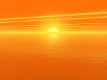 τρισδιάστατος αιματηρός ωκεανός πέρα από το κόκκινο ύδωρ ηλιοβασιλέματος Στοκ Εικόνες