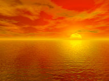τρισδιάστατος αιματηρός ωκεανός πέρα από το κόκκινο ύδωρ ηλιοβασιλέματος Στοκ Εικόνα
