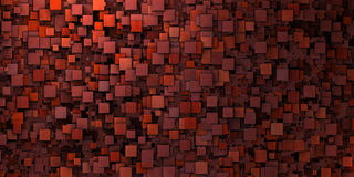 τρισδιάστατος ανώμαλος βρώμικος τοίχος μωσαϊκών μέσα βαθιά - κόκκινο στοκ φωτογραφία