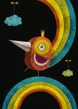 τρισδιάστατος αφηρημένος σίδηρος απεικόνισης πουλιών Πουλί πυρκαγιάς στην κορώνα στο ουράνιο τόξο Σχέδιο έννοιας για την αφίσα, f Στοκ Εικόνα