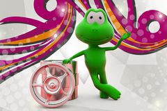 τρισδιάστατος βάτραχος με την απεικόνιση πλαισίων Στοκ Εικόνα