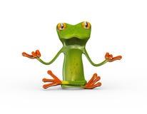 τρισδιάστατος βάτραχος στη θέση γιόγκας zen απεικόνιση αποθεμάτων