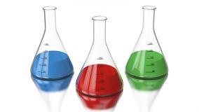 τρισδιάστατος βολβός χημείας απεικόνισης απόδοσης με έναν πράσινο, κόκκινος, μπλε ελεύθερη απεικόνιση δικαιώματος