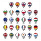 τρισδιάστατος δείκτης με τις σημαίες της Ευρωπαϊκής Ένωσης Στοκ Εικόνα
