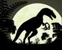 τρισδιάστατος δεινόσαυρος ψαλιδίσματος πέρα από το μονοπάτι που δίνει το λευκό velociraptor σκιών Στοκ Εικόνα
