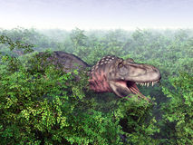 τρισδιάστατος δεινόσαυρος ψαλιδίσματος πέρα από το μονοπάτι που δίνει το λευκό tarbosaurus σκιών Στοκ εικόνα με δικαίωμα ελεύθερης χρήσης